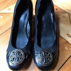 Black patent leather Tory Burch wedges
